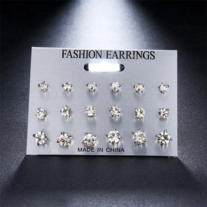 Fashion 12 pair/set Women Square Crystal Heart Stud Earrings for Women Piercing Simulated Pearl Flower Earrings