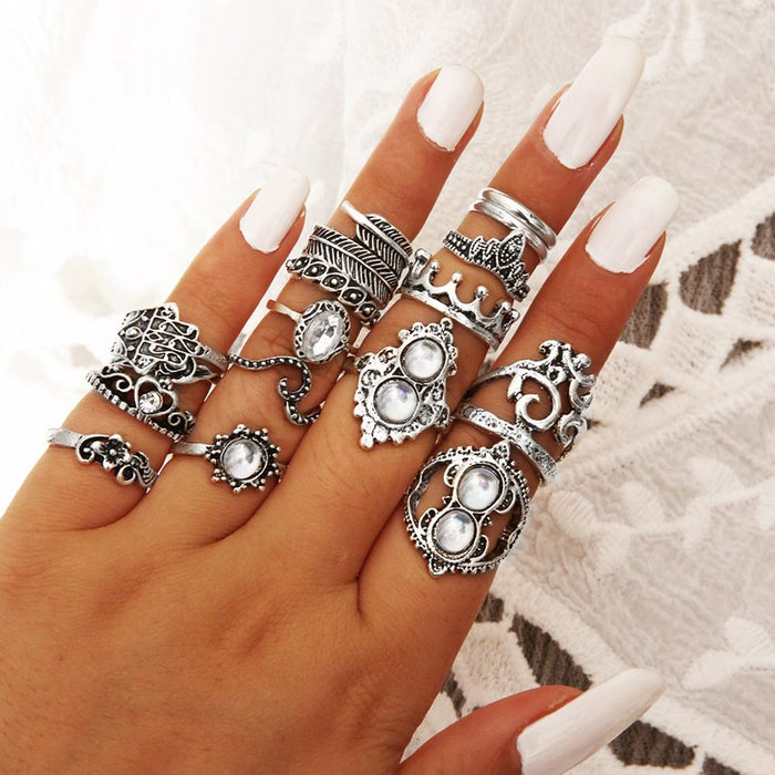 Fashion 16Pcs/Set Retro Boho Hamsa Hand Crown Finger Midi Knuckle Stacking Rings Jewelry