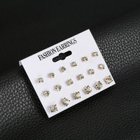 Fashion 24 pcs / set women square crystal heart Stud earrings for women Piercing simulated flower pearl earrings jewelry gift