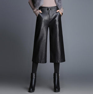 Fashion knit stitching Ankle-Length leather pants 2019 Spring Women's High