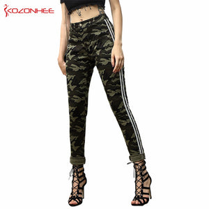 Fashion Camo Stretch Jeans With High Waist Women Elasticity Camouflage Tight Skinny