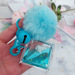 Fashion Car Keychain Creative Sea Lions Starry Liquid Crystal Quicksand Sequin Key Ring Bag Pendant for Women Bag Key Chain