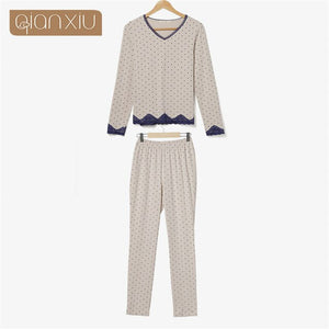 Pajamas Sets  dot pajamas suits for women Long Sleeve O-Neck Lady Cotton Sleepwear