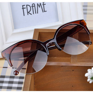 Fashion Cat Eye Sunglasses Women Retro Vintage Half Frame Eyewear Brand Designer Round Circle Semi-Rimless Glasses UV400 Oculos