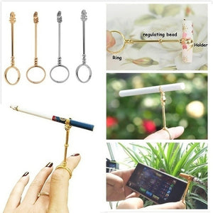 Fashion Cigarette Holder Ring Vintage Metal Men Women Finger Clip Rack Slim Cigarettes Smokers Smoking Smoking Gift Set
