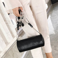 Fashion Creative Luxury Women Bags Metal Round Ring Pu Leather  Baguette Cylinder Package Clutch Female Messenger Bags Handbag