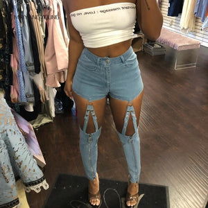 Fashion Cut Out High Waist jeans woman Streetwear Metal button patchwork sexy Jeans Skinny All Matched Casual Denim Pants