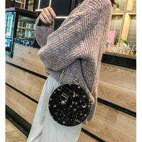 Fashion Embroidered Star Pattern Velour Round Shoulder Bag Casual Ladies Chain Purse Handbag Crossbody Mini Messenger Bag Flap