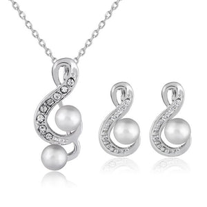 Fashion Fascinating Concise Musical Note Simulated Pearl Rhinestone Necklace Earring Set for Women 2-Piece Jewelry Set
