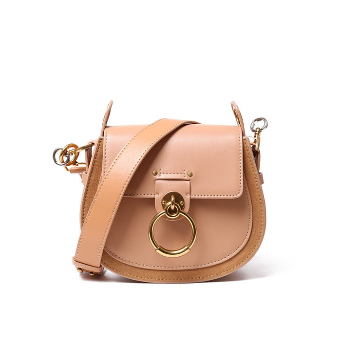 Fashion Female Genuine Leather Handbag High Quality Cowhide Shoulder Women Bags Designer Annular Metal Ring Ladies Crossbody Bag