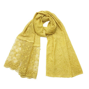 Fashion Floral Lace Scarf Muslim Women Elegant Hijabs Embroidered Shawl