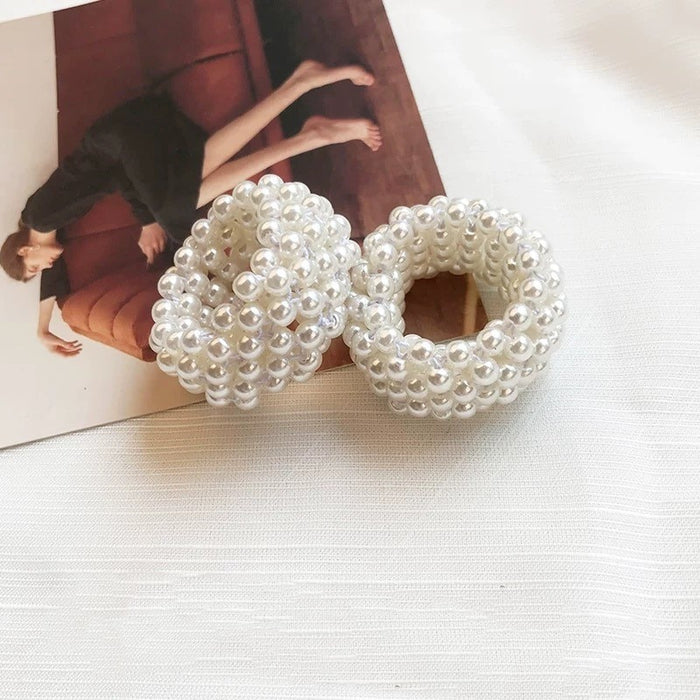 Fashion Girl Rope Scrunchie Ponytail Holder White Full Pearl Faux Pearl Beads