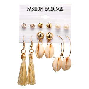 Fashion Gold Color Geometric Earring Set For Women Pearl Long Tassel Circle Korean Women Stud Earrings Set Jewelry 2019 New