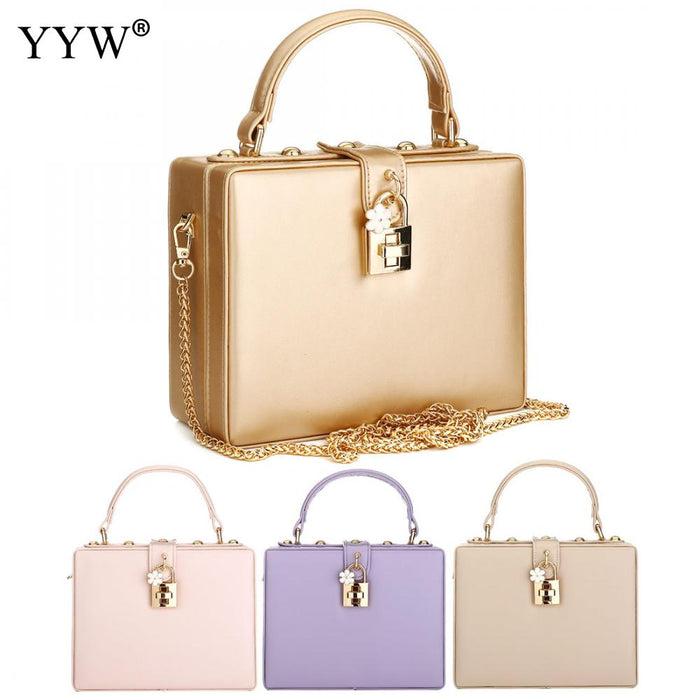 Fashion Handbag Women Evening Party Shoulder Bags Solid Wedding Crossbody Bag Ladies Hard Case Box Clutch Bag Simple Handbags