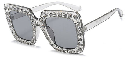 Fashion High Quality Luxury Rhinestone Square Sunglasses Women Brand Designer Oversized Large Frame Pink Sunglasses Oculos 1150T