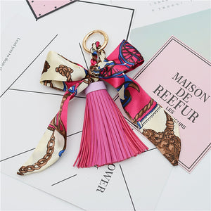 Fashion Hot Sale Scarves Key holder Bowknot Exquisite Decoration PU Leather Tassels Keychains Women Bag Charm Pendant EH810