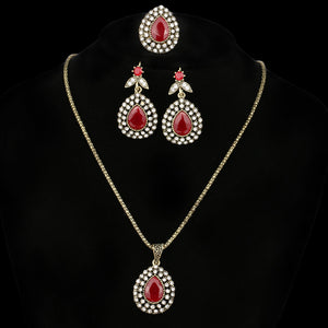 Fashion Jewelry Set Charm Austrian Crystal Water Drop Ancient Bronze Three-Piece Wedding Accessories Turkey Jewelry