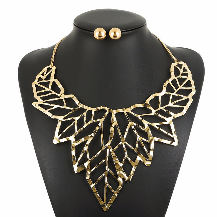 Fashion Jewelry Sets Womens Accessories Leaf Shape African Jewelry Sets Necklace Earrings Crystal 2 Piece Set Women Jewelry Gift