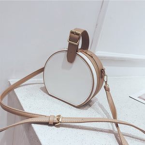 Fashion Leather Round Handbags Women Simple Panelled Shoulder Bags Crossbody Small White Messenger Bags Bolsa Feminina