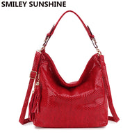 Fashion Leather Women Handbags Hobo Tassel Women Shoulder Bags Big Red Ladies Hand bags Female Crossbody Bags for women 2019