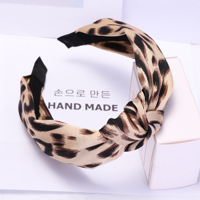 Fashion Leopard Hairband Autumn Attractive 7CM Bow Headband for Women Hair Accessories