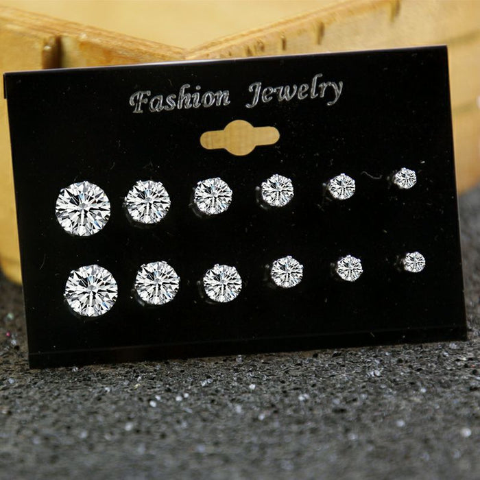 Fashion Mixing Crystal Simulated Pearl Stud Earrings 6 Pair/Set Shiny Lots of Earrings Jewelry For Women Girls Wholesale