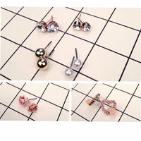 Fashion Mixing Flower Crystal Simluated Pearl  Stud Earrings 9 Pair/Set Shiny Lots of Earrings Jewelry For Women Girls Wholesale