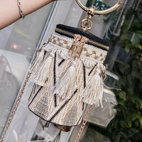 Fashion Round Tassel Crossbody Bags for Women Bucket Handbag Casual Tote Cylinder Mini Shoulder Bag Ring Pouch bolsos mujer~