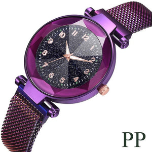 Fashion Starry Sky Convex Glass Quartz Mesh With Magnetic Buckle Ladies Watch women watch Dress watch Party decoration gifts