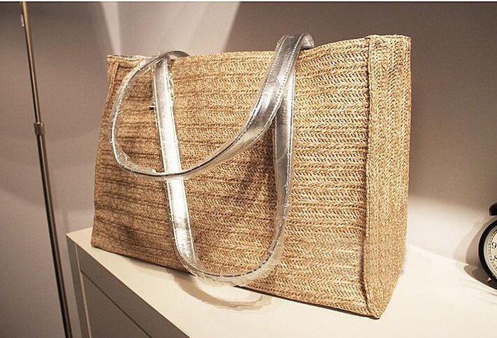 Fashion Straw+pu Handbags Straw Summer Beach Tote Big Shoulder Bag Purse Handbag Straw Beach Bag
