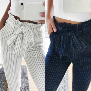 Fashion Summer Women Harem Pants Striped OL High Waist Elastic Bow Tie Drawstring Pockets Ladies Casual Trousers -MX8