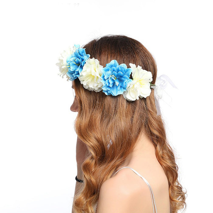 Fashion Two-color Butterfly Flower Wreath Forehead Hair Head Band Garland Hair Decor For Women Gift Party Wedding