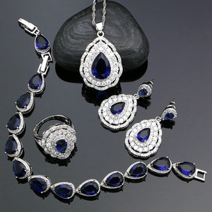 Fashion Women 925 Sterling Silver Jewelery Blue Cubic Zirconia Crystal Earrings/Pendant/Necklace/Ring/Bracelet Jewelry Sets