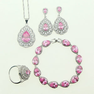 Fashion Women 925 Sterling Silver Jewelery Pink Cubic Zirconia Crystal Earrings/Pendant/Necklace/Ring/Bracelet Jewelry Sets