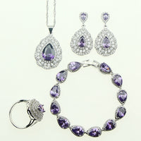 Fashion Women 925 Sterling Silver Jewelery Purple Cubic Zirconia Crystal Earrings/Pendant/Necklace/Ring/Bracelet Jewelry Sets
