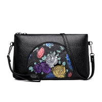 Fashion Women Beautiful Floral Printing Pu Leather Black Shoulder Crossbody Ladies Baguette Handbag Evening Clutch Bag