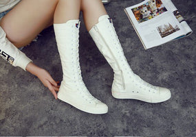 Fashion Women Canvas Boots Shoes Woman Flat and Height increasing