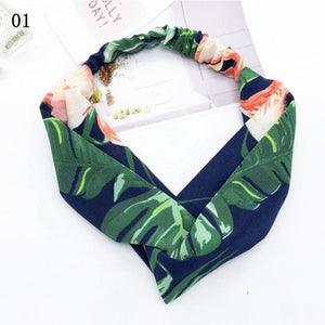 Fashion Women Chiffon Floral Bowknot Braid Headbands Ladies Girl Rabbit Ears Hairband Elastic Banana Leaf Beach Hair Accessories