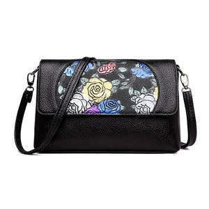 Fashion Women Luxury Designer Floral Printing Pu Leather Women Black Shoulder Crossbody Handbag Clutch Bag Ladies Baguette
