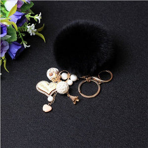 Fashion Women Rabbit Fur Ball Key chains Pom Pom Charm Car Keychain Handbag Key Ring Rhinestone Love Heart Pendant Keychains