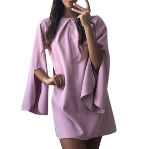 Fashion Women Sexy O-Neck Solid Slit Flare Sleeve Short Mini Dress