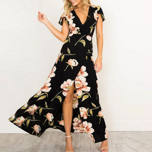 Fashion Women summer dress V-Neck Short Sleeve Casual Slit Floral Printed Bandage