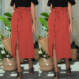 Fashion Womens Midi Skirt High Waist Front Slit Skirt 2019 NEW Button Bandage