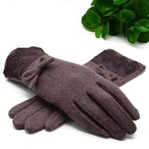 Fashion Wool Cashmere Gloves Women Winter Bow Decorations Lace