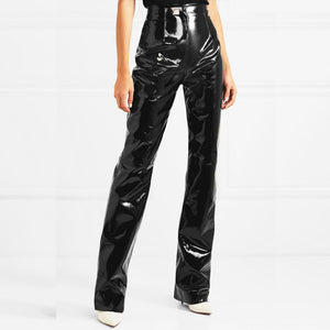 Fashion brand glossy patent water wash velvet PU leather pants female