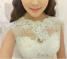 Fashion crystal vintage shoulder chain bridal necklace wedding jewelry vintage pearl wedding jewelry accessories lace necklaces