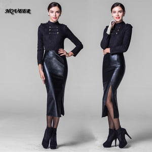 Fashion long leather skirt  slim hp skirt thickening PU long sexy split  step skirt black plus size