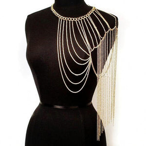 Fashion sexy chain women multilayer Gold chain tassel shoulder chain harness necklace female Nightclub Party jewelry ladies