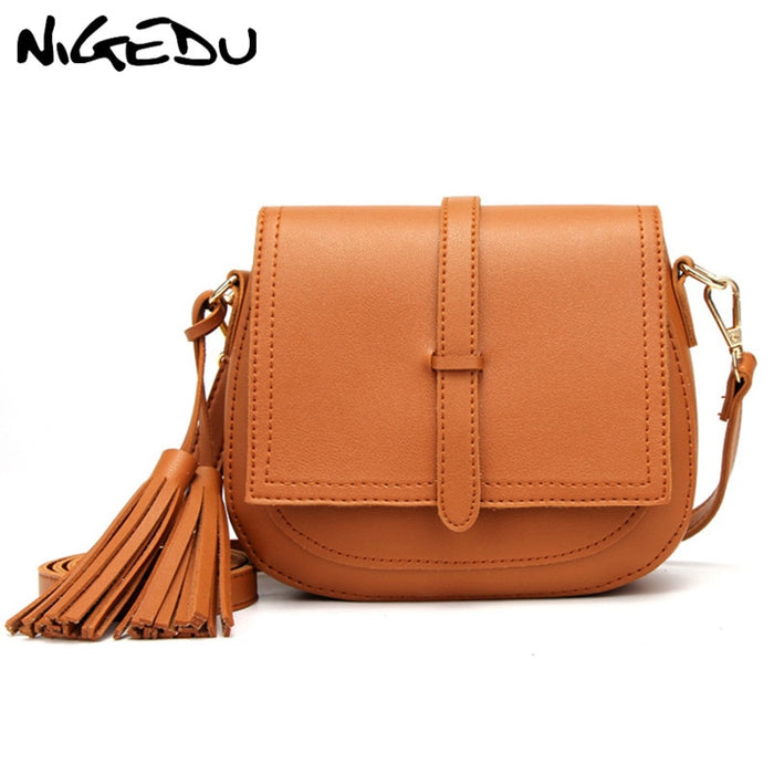 Fashion tassel women Crossbody Bag small brand design Small PU Leather Messenger Bags for Female Shoulder bag Ladies Saddle bag