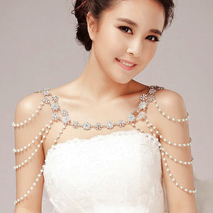 Fashion unique pearl shoulder chain wedding bridal jewelry two ways wear necklace rhinestone crystal flower necklace women